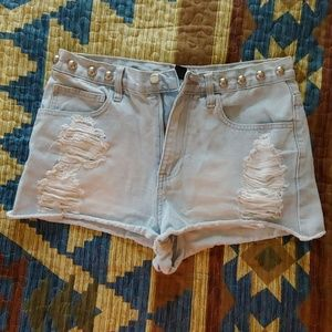 High waist studded shorts